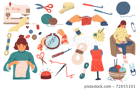 Needlework. Sewing knitting and embroidery hand made woman hobby collection, tools and instruments, handicraft accessory. Dressmaking vector needle threads and yarn cartoon set 72655101