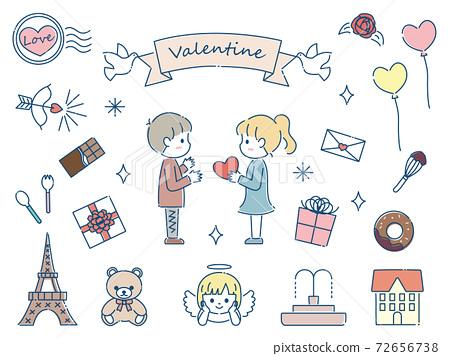 手繪可愛情人節材料套裝 72656738