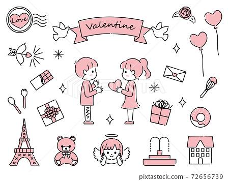 그린 귀여운 발렌타인 소재 세트 72656739