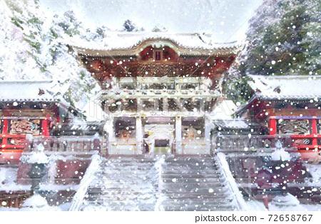 日光東照宮的雪 72658767