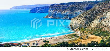 Cyprus island - beautiful impessive rocky beach Curium (Kourion) 72659597