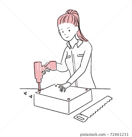 그린 1color DIY 여자 포니 테일 여성 전동 드라이버 72661231
