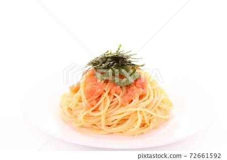 Tarako spaghetti Japanese-style pasta bright background 72661592