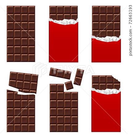 Illustration material: Chocolate chocolate bar set 72663193