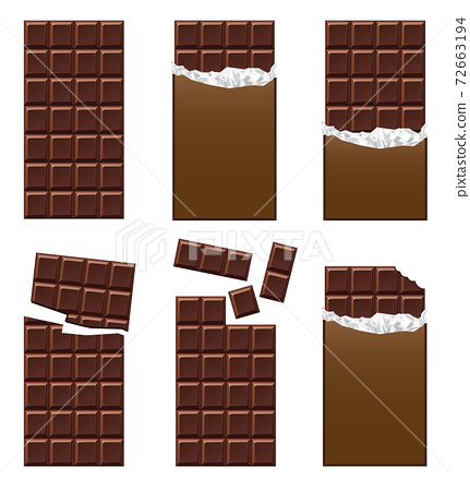 Illustration material: Chocolate chocolate bar set 72663194
