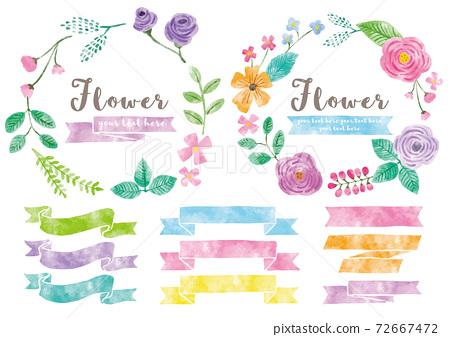 可愛的flowers_frame和ribbon_watercolor 72667472