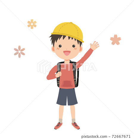 A boy carrying a school bag waving with a smile 72667671