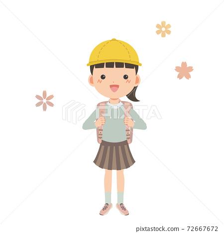 一個看起來很快樂的女孩背著學校的牢房 72667672