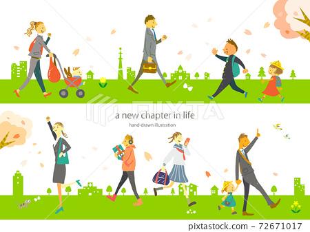 新生活開始春天的城市和人們手繪插圖素材集 72671017