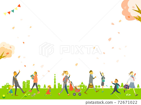 New life start Hand-drawn illustration material set of spring city and walking person 72671022