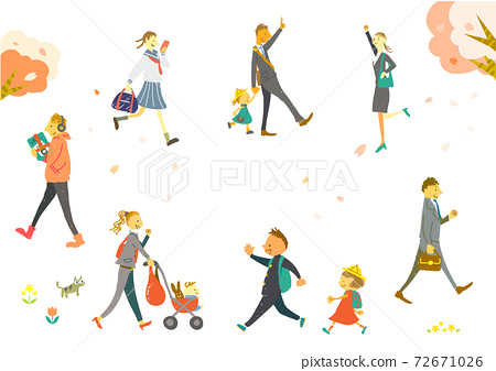 New life start Hand-drawn illustration material set of spring walking person 72671026