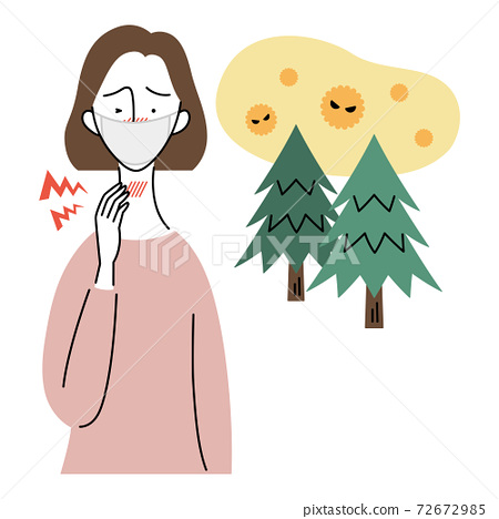 A woman who feels pain in her throat due to hay fever (wearing a mask) 72672985