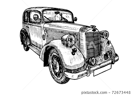 Retro car vector illustration doodle sketch graphics 72673448