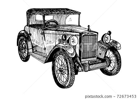 Retro car vector illustration doodle sketch graphics 72673453
