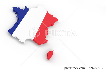 France map with Franch flag 3D rendering 72677857