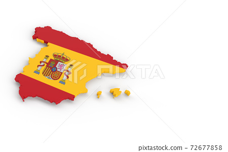 Spain map with Spanish flag 3D rendering 72677858