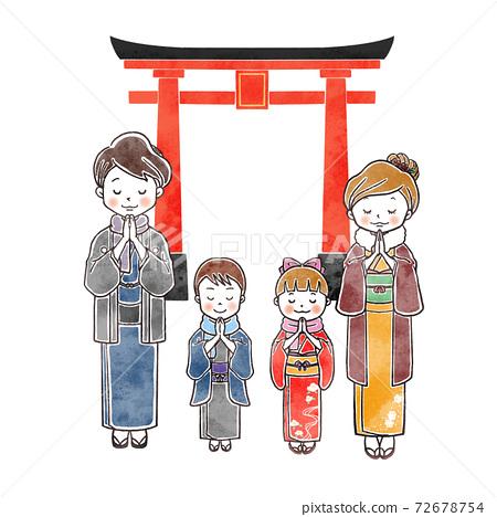 Hatsumode Torii family 72678754