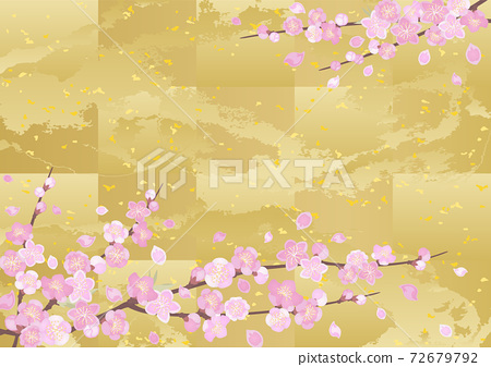 裝飾背景桃和金箔 72679792