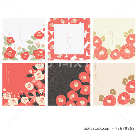 Red camellia flower with Japanese pattern vector. Abstract background in oriental style. Chinese new year banner. 72679868