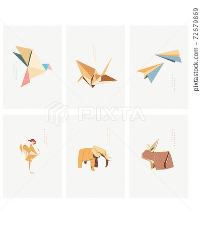 Set of geometric modern graphic elements vector. Asian icons with Japanese pattern. Origami paper folding icon. Crane birds, elephant, rabbit, chicken and plane object. 72679869