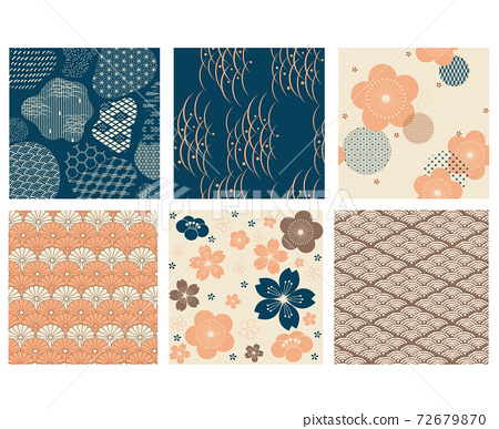 Japanese pattern with Asian decoration vector. Cherry blossom flower with wave background in vintage style. 72679870