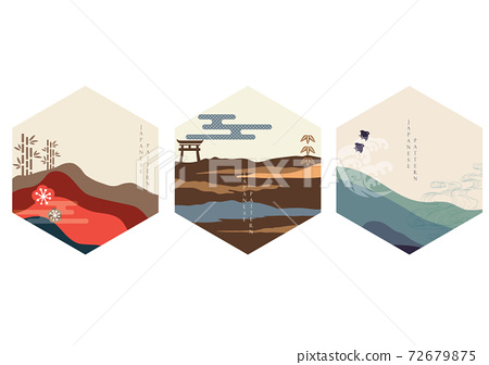 Japanese background with mountain forest vector. Asian icon and symbol design. Bamboo, bird, gate, hand drawn wave decoration. 72679875