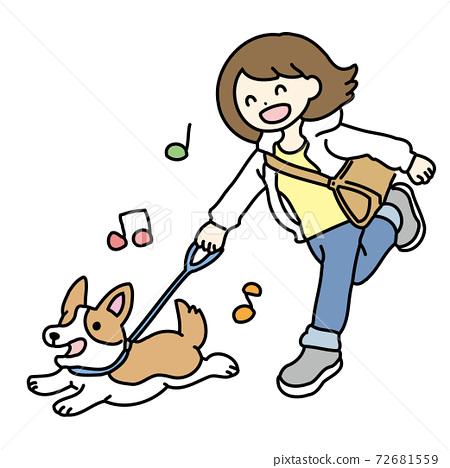 一個女人和她的狗散步的插圖 72681559