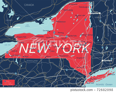 New York state detailed editable map 72682098