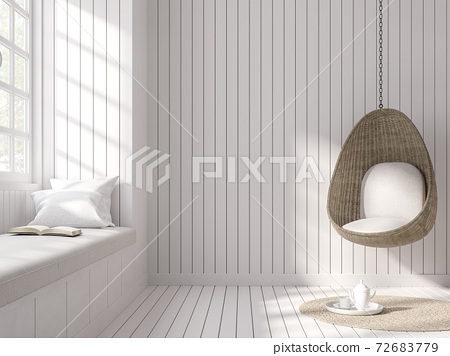 Vintage style with empty white plank wall interior 3d render 72683779