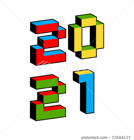 2021 text in style of old 8-bit video games. Vibrant colorful 3D Pixel Letters. Creative digital New 72684215