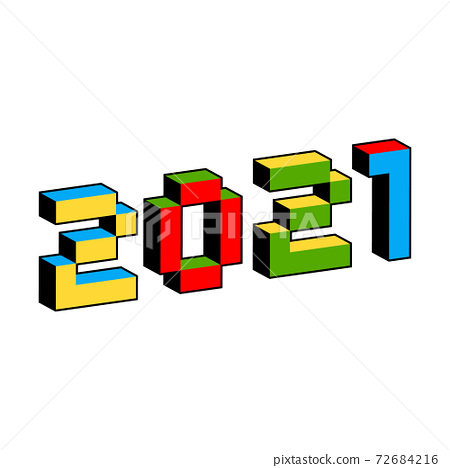 2021 text in style of old 8-bit video games. Vibrant colorful 3D Pixel Letters. Creative digital New 72684216