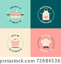 Set of vintage logo for cooking classes, courses. 72684536