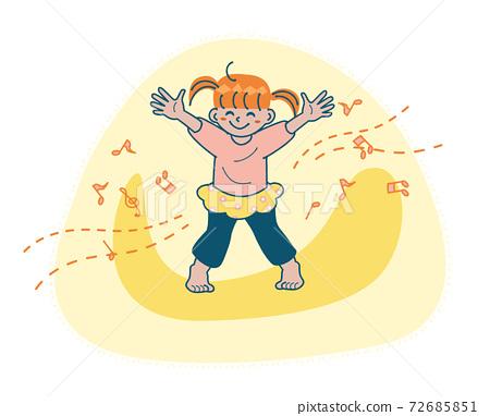 教訓舞蹈女孩兒童插圖 72685851