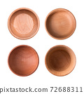 Set of wooden plates isolated on white background. View from above 72688311