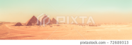 Great pyramids in Giza valley, Cairo, Egypt 72689313