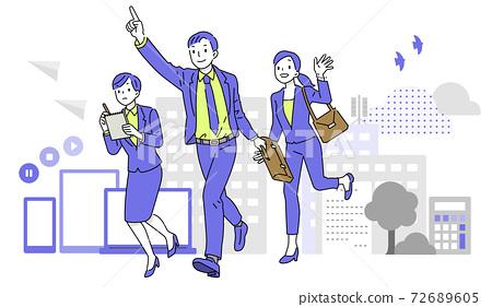 商人和在城市運行的女企業家 72689605