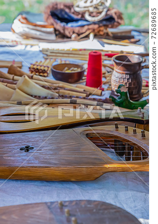 musical instruments stringed middle ages lute, pipe selective focus 72689685
