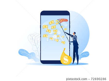 businessman trying to catch money fly on laptop phone vector illustrator. 72690286