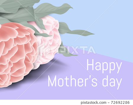 Happy mother's day greeting card design, minimalist rose flowers and leaves on purple and blue 72692286