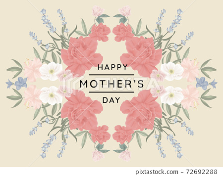 Happy mother's day greeting card design, mirror effect/ symmetry roses and other flowers wreath 72692288