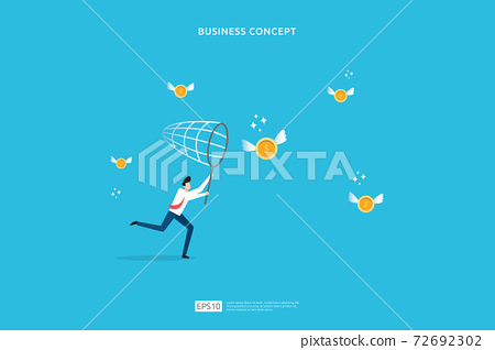 investment concept of catching opportunity with businessman character attraction collect money coin. Flat cartoon design. business startup invest growth metaphor vector illustration 72692302