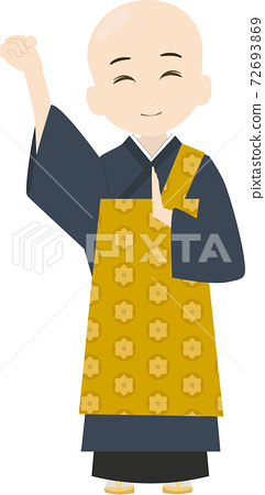 Illustration of a cute and energetic monk 72693869