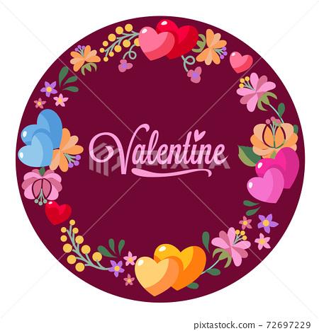 valentine love and flower wreath decoration 72697229