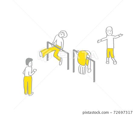 學校生活/簡單的線條畫手繪插圖/圖層可讓您更改衣服的顏色/休息時的風景/鐵條 72697317
