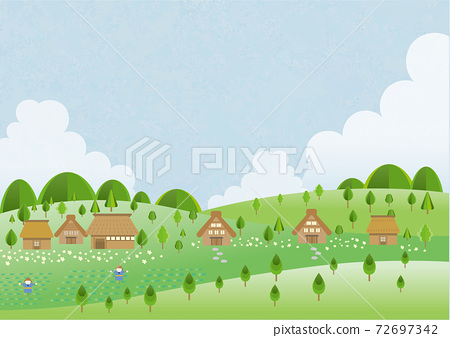 Background material of blue sky and old folk house 72697342