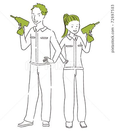 그린 1color DIY 남녀 전신 전동 드라이버를 가지고 포즈 72697583