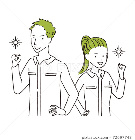 그린 1color DIY 연결 남녀 상반신 승리의 포즈 72697748