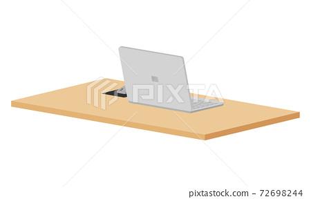 一個簡單的工作區的例證與膝上型計算機的。 72698244