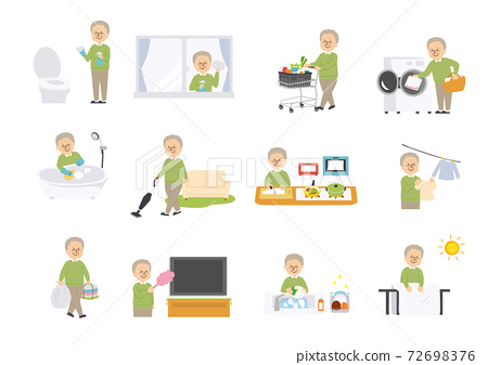 一位老人做家務的插圖 72698376