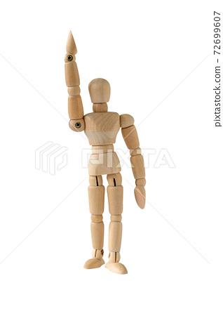 Wooden model raise his hand 72699607